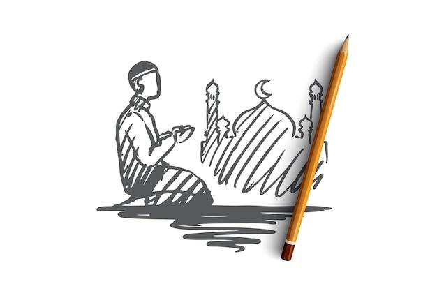 Uomo, preghiera, religione, musulmano, arabo, islam, concetto di moschea. uomo musulmano disegnato a mano che fa pregare le ginocchia in piedi sullo schizzo di concetto.