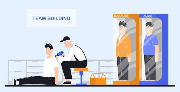 L'uomo prepara i dipendenti per il lavoro di squadra concetto con la soluzione del team aziendale in collaborazione