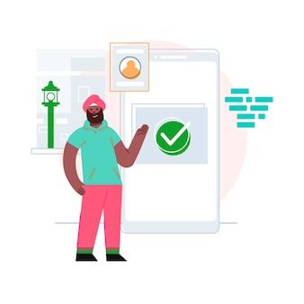Uomo che presenta l'illustrazione del concetto di app