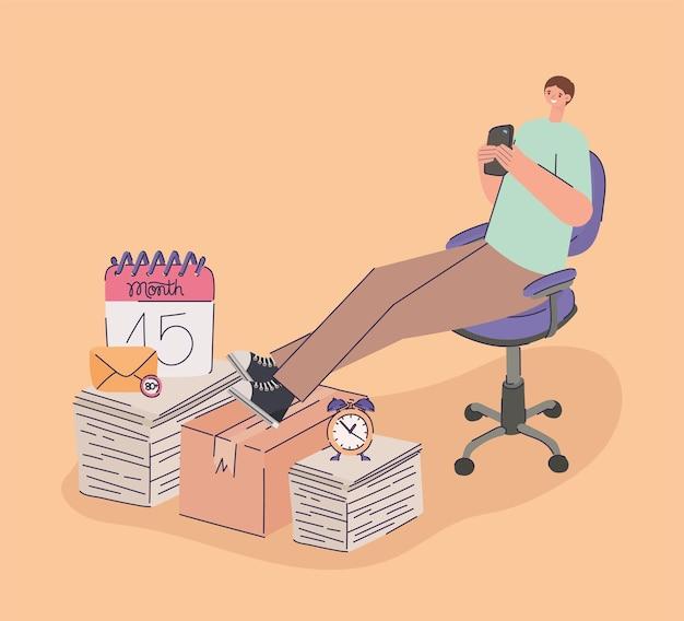 Uomo che procrastina con un lavoro in sospeso