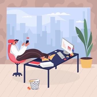 Uomo che procrastina sul posto di lavoro in ufficio