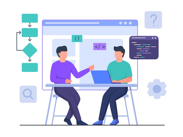 La collaborazione del programmatore uomo con il lavoro dei partner sul laptop crea il sito web di progettazione del progetto con stile cartone animato piatto.