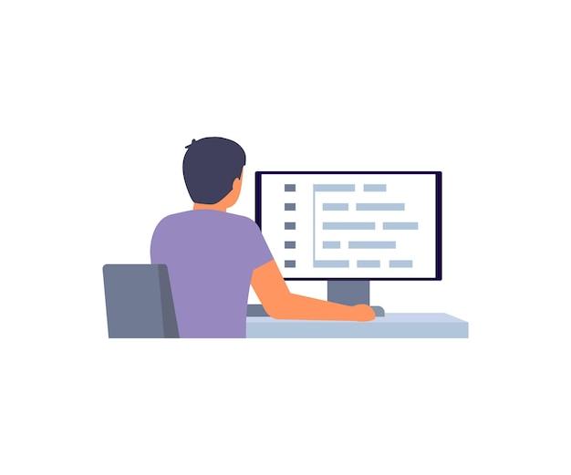 Programmatore uomo, sviluppatore software che lavora allo sviluppo web su computer, vista posteriore. l'uomo lavora la codifica e la programmazione degli script in php, python, javascript, altri linguaggi sullo schermo del computer.