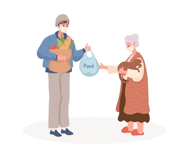 Uomo in maschera protettiva consegna cibo alla vecchia