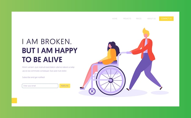 Uomo che spinge giovane ragazza disabile che si siede in sedia a rotelle. modello di pagina di destinazione