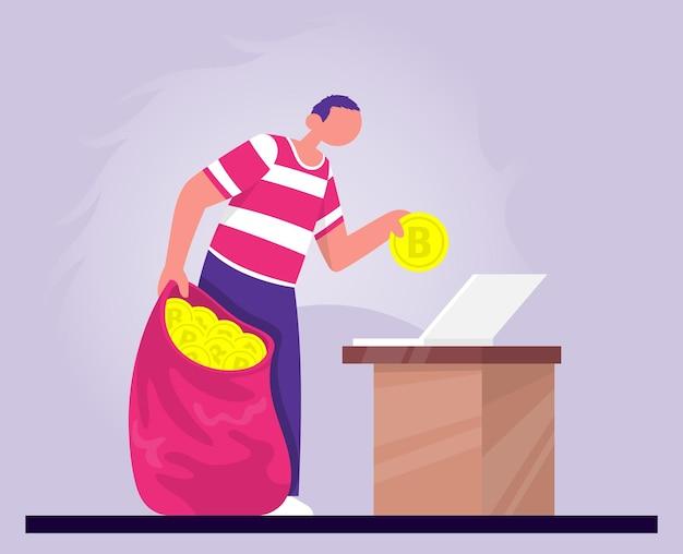 L'uomo mette i bitcoin nella borsa dal laptop concetti per la criptovaluta aziendale di investimento denaro virtuale