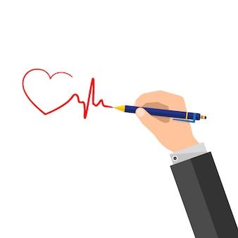 Un uomo mette una firma sotto forma di un battito cardiaco. illustrazione vettoriale.