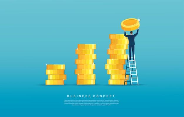 Uomo che mette moneta sul mucchio di monete concetto di finanza e affari