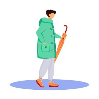 Uomo in carattere senza volto di colore piatto impermeabile. ragazzo caucasico ambulante. tempo umido. autunno piovoso giorno. maschio con l'ombrello in mano isolato fumetto illustrazione su sfondo bianco