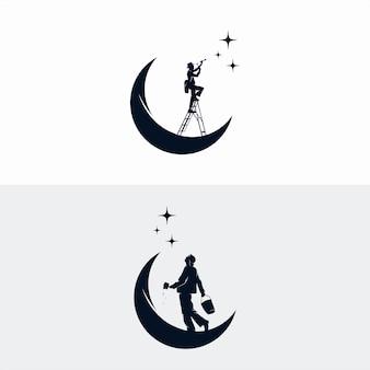 Un uomo raggiunge il design del logo delle stelle