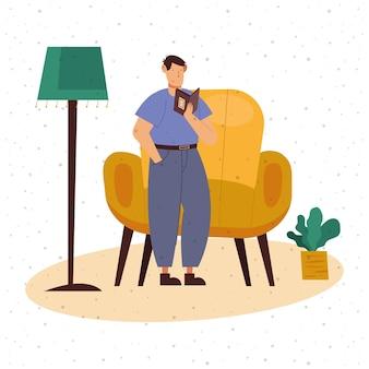 Uomo che legge un libro a casa design, letteratura sull'istruzione e legge l'illustrazione del tema