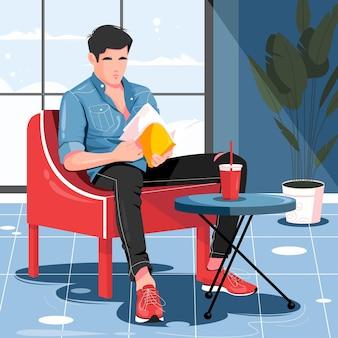 Uomo che legge un libro in camera illustrazione at