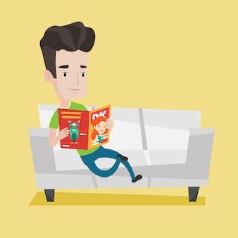 Rivista della lettura dell'uomo sull'illustrazione del sofà