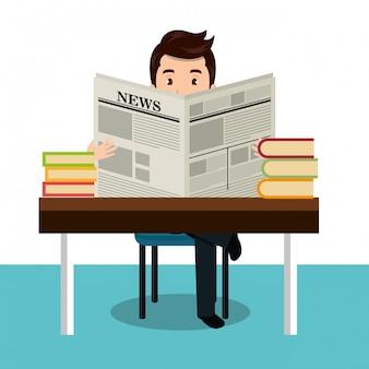 Uomo che legge l'icona del giornale