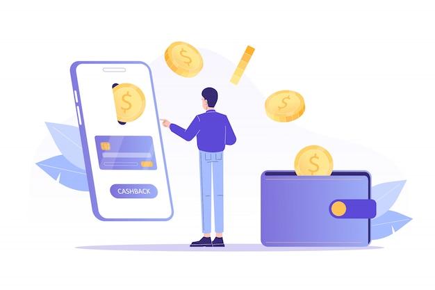 Uomo che riceve cashback online dallo smartphone