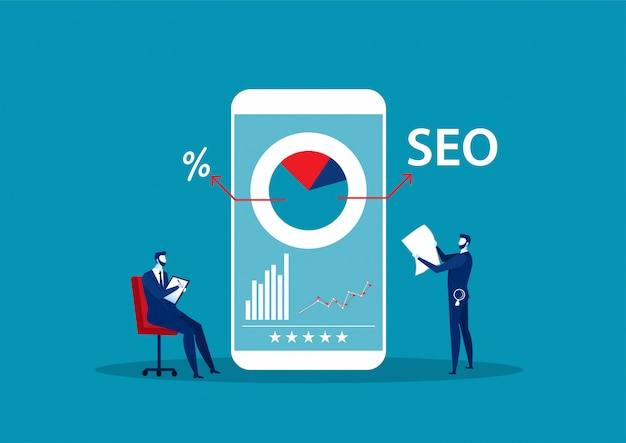 Man record e report con lente d'ingrandimento. concetto di ottimizzazione seo o dei motori di ricerca, strategia di marketing online. illustrazione.
