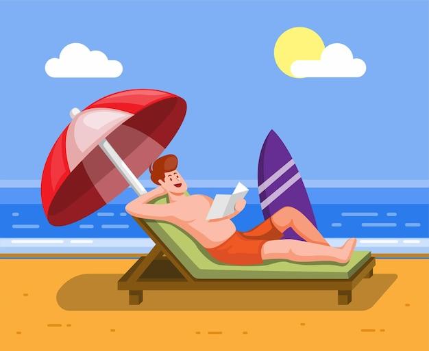 Uomo relax sedersi in sedia a prendere il sole sulla spiaggia vacanze estive vacanze beach