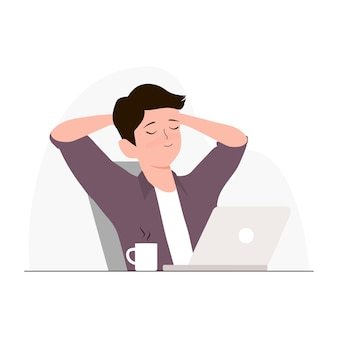 Equipaggi la seduta rilassata sulla sedia con le sue mani sulla testa con l'illustrazione del caffè e del computer portatile. libero professionista e concetto di reddito passivo