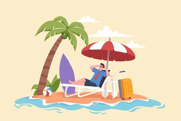 Uomo che si rilassa in spiaggia durante le vacanze estive illustrazione