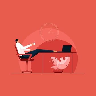 Uomo che si rilassa in ufficio godendo la pausa caffè o il concetto di ora del tè
