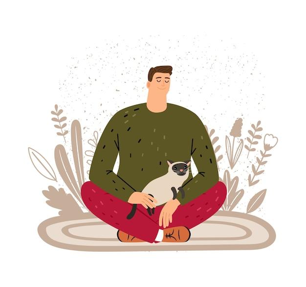 Uomo che riposa con il gatto. terapia animale per illustrazione vettoriale persone. concetto di meditazione