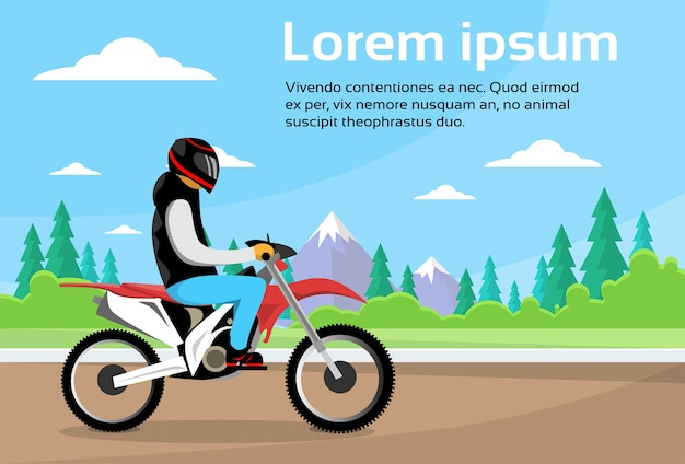 Motocicletta sportiva da uomo in sella a una bici da strada