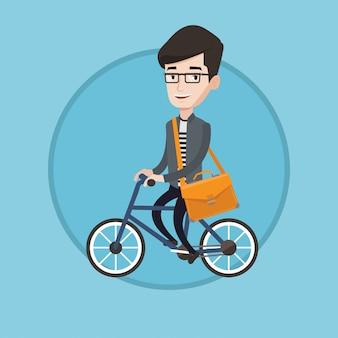 Uomo che guida la bicicletta illustrazione vettoriale.