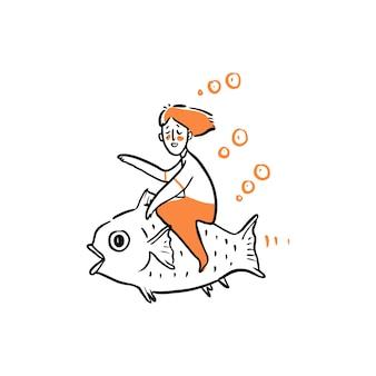 Uomo che cavalca un grande pesce illustrazione