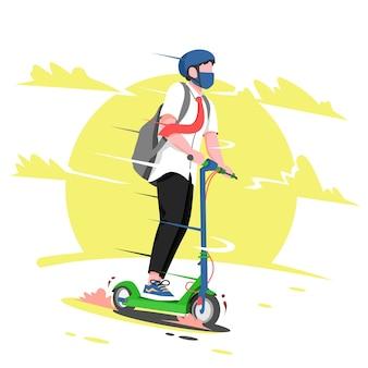 Uomo che guida uno scooter elettrico