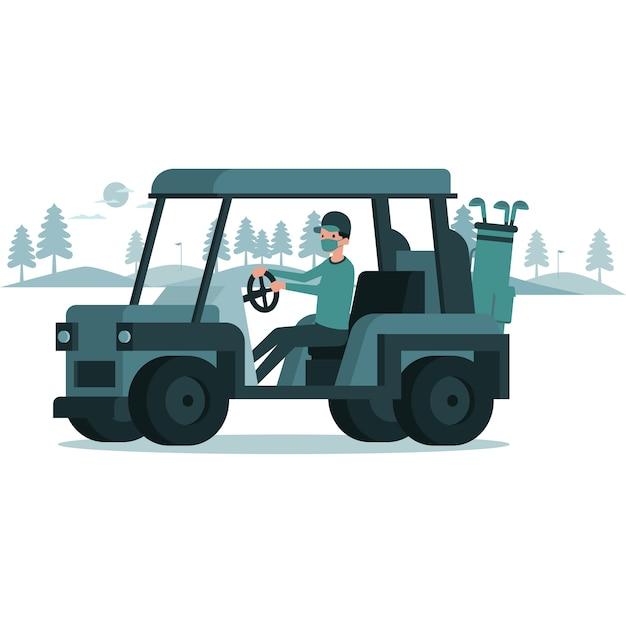 Un uomo che cavalca un'illustrazione del carrello da golf