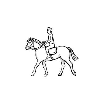 Uomo a cavallo con sella icona doodle contorni disegnati a mano. illustrazione di schizzo di vettore di equitazione per stampa, web, mobile e infografica isolato su priorità bassa bianca.
