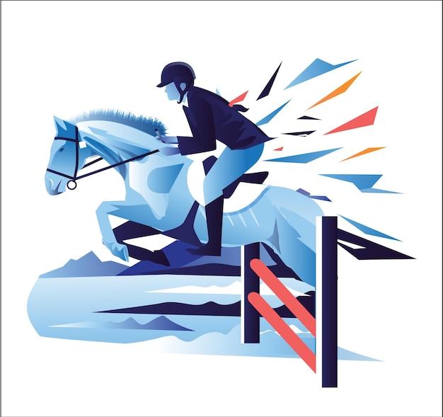 Un uomo a cavallo illustrazione di cavalli