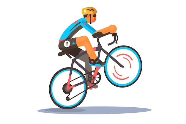 Illustrazione della bici sportiva di equitazione dell'uomo. ciclista in abbigliamento sportivo e casco facendo impennata trucco bici