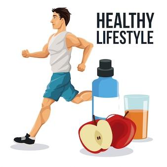 Man running apple juice and bottle icon