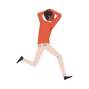 Uomo che scappa in preda al panico paura di qualcosa di piatto illustrazione vettoriale isolato