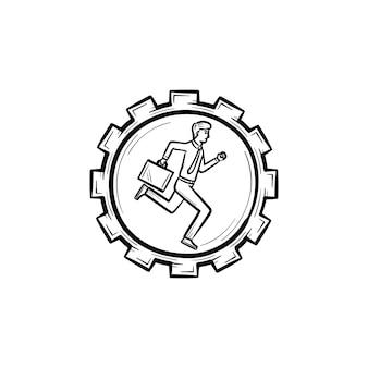 Uomo che corre nell'icona di doodle di contorni disegnati a mano di vettore dell'ingranaggio. un uomo dentro l'illustrazione di schizzo dell'ingranaggio per stampa, web, mobile e infografica isolato su sfondo bianco.