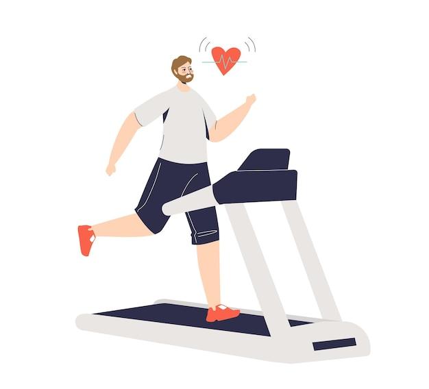 Uomo che corre sul tapis roulant e misura il polso e il battito cardiaco. corridore maschio che pareggia. concetto di sport e salute.