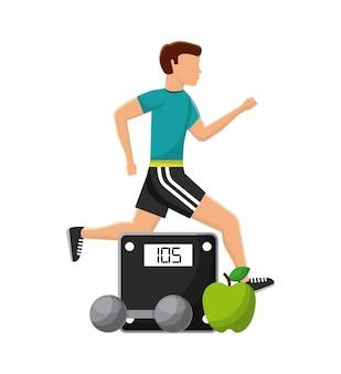 Uomo che corre e bilancia mela e manubrio