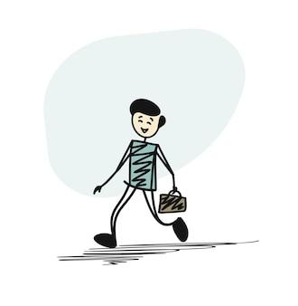 Uomo che corre con la valigia, fondo di vettore di schizzo disegnato a mano del fumetto.