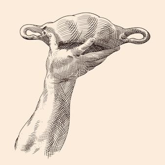 La mano di un uomo viene sollevata e tiene una ciotola con due manici. avvicinamento. illustrazione isolata su uno sfondo beige.