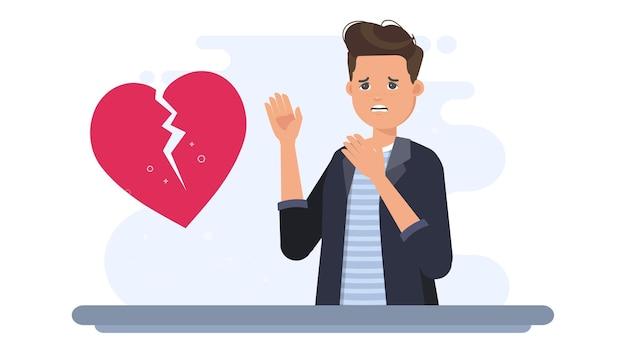 Uomo triste sull'illustrazione di san valentino