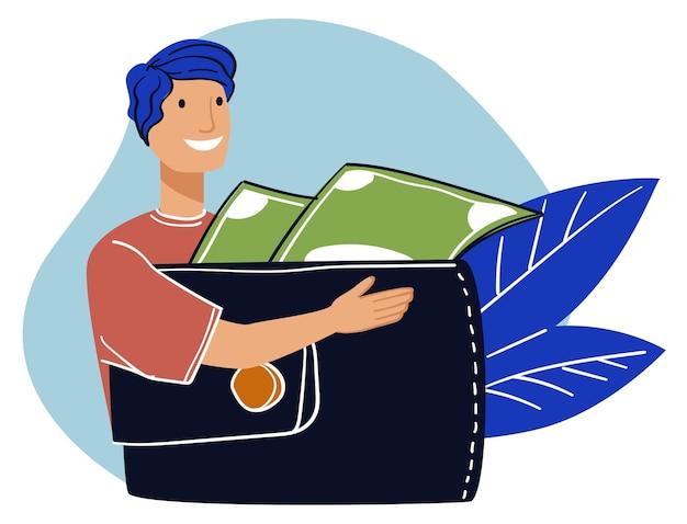 Uomo che risparmia denaro maschio con portafoglio e banconote