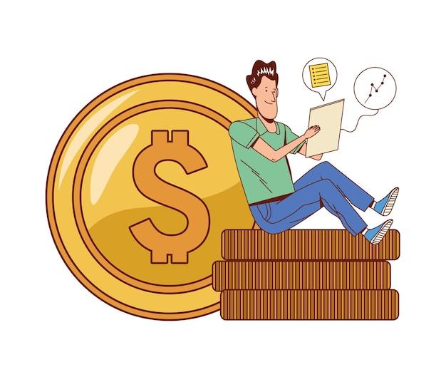 Uomo seduto in denaro Vettore Premium