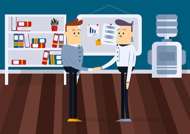 L'uomo stringe la mano. sono in piedi davanti a un consiglio in ufficio. illustrazione di vettore del fumetto di colore