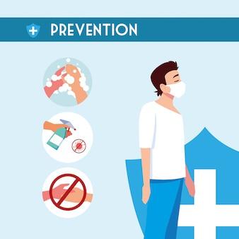 Man shield e suggerimenti di prevenzione del disegno vettoriale del virus covid 19