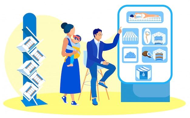 Man shop assistant, seduto su una sedia di infomercial stand