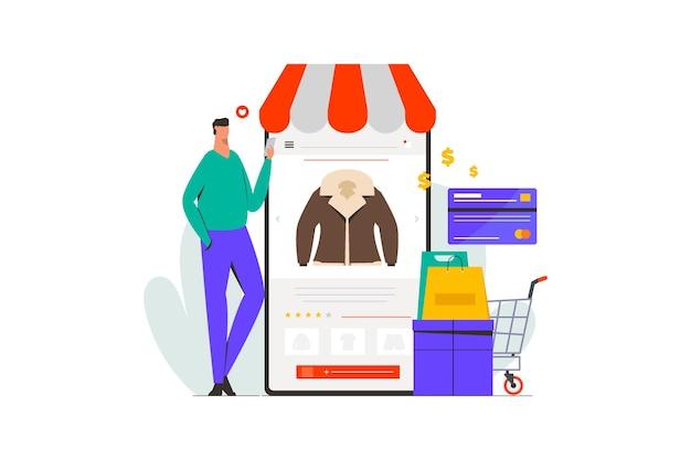 Uomo che fa shopping nell'illustrazione del mercato online