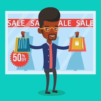 Acquisto dell'uomo sull'illustrazione di vettore di vendita.
