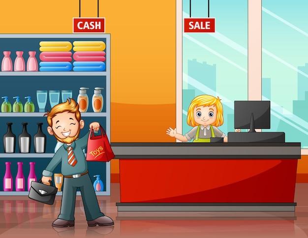 Un uomo che fa la spesa nell'illustrazione del supermercato