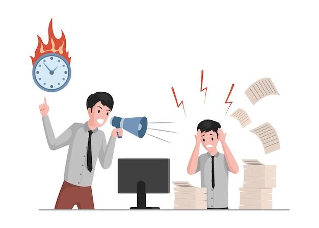 Uomo che grida in megafono sull'illustrazione di impiegato